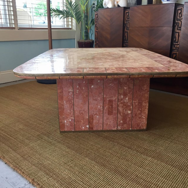 Late 20th Century Pink Tessellated Stone Coffee Table by Casa Bique For Sale - Image 5 of 8
