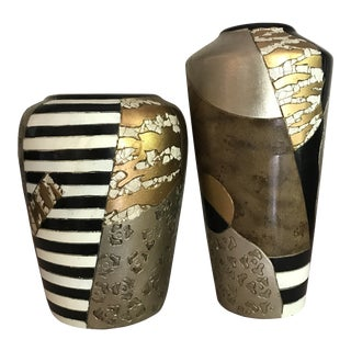 Vintage Post-Modern Handmade Potter Vases - a Pair For Sale