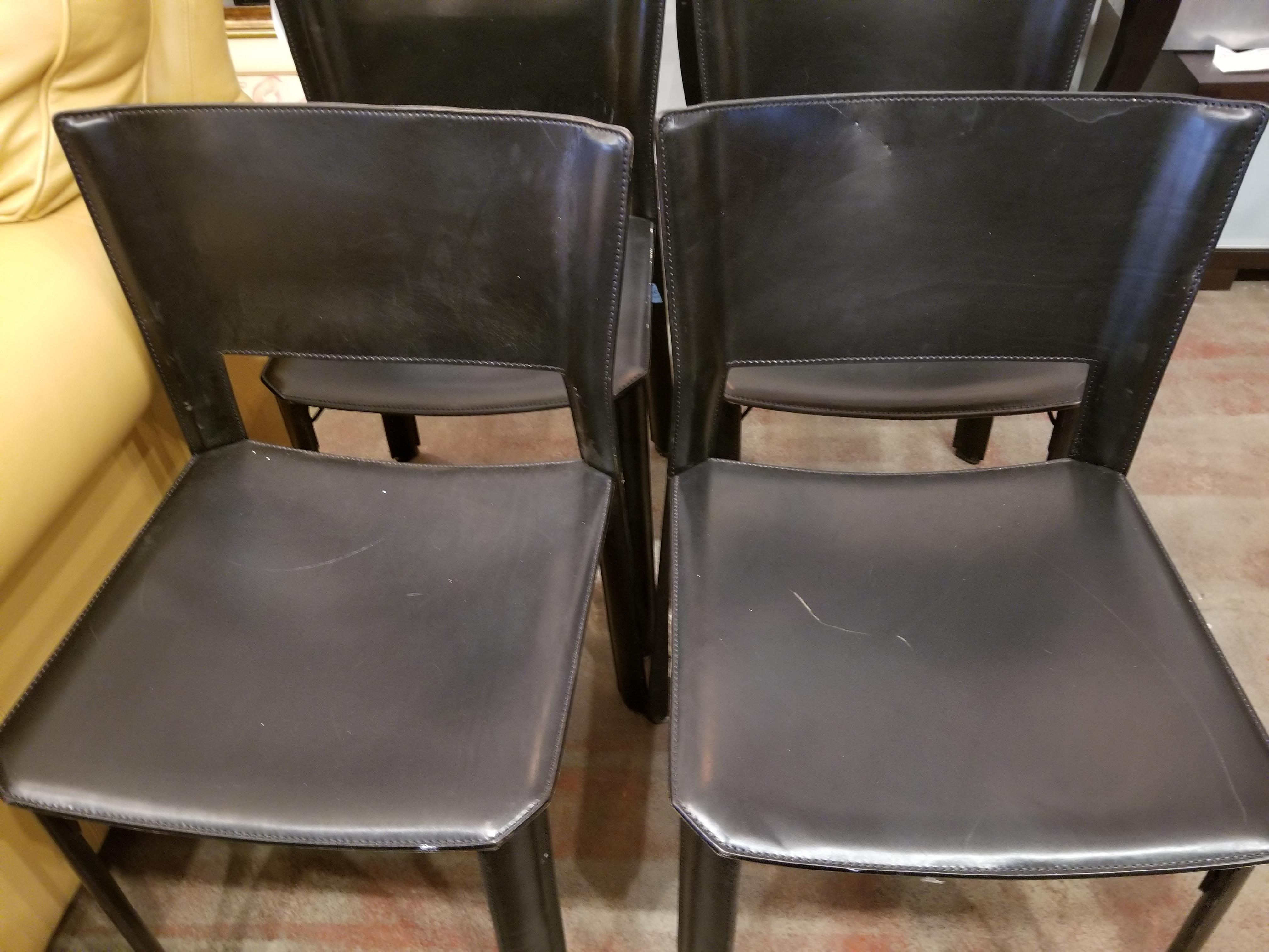 Vintage Italian Leather Chairs   Set Of 5 For Sale   Image 4 Of 8