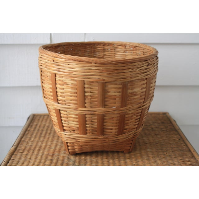 Vintage Woven Wicker Basket For Sale - Image 5 of 10