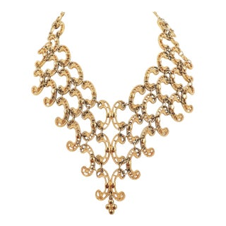 Monet Goldtone Articulated Bib Necklace, 1972 Ad Piece For Sale