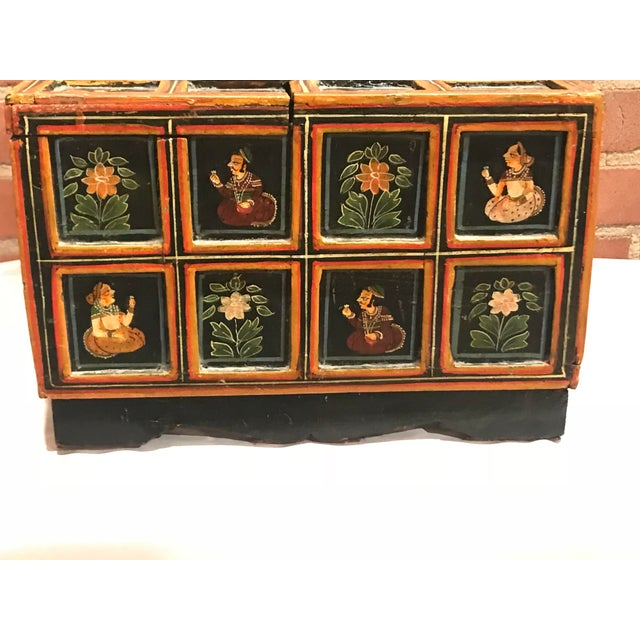 Vintage Folk Art Indian Hand Painted Box For Sale - Image 4 of 10