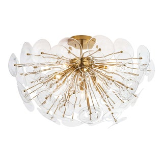 Poppy Glass Semi Flush Mount in Clear For Sale
