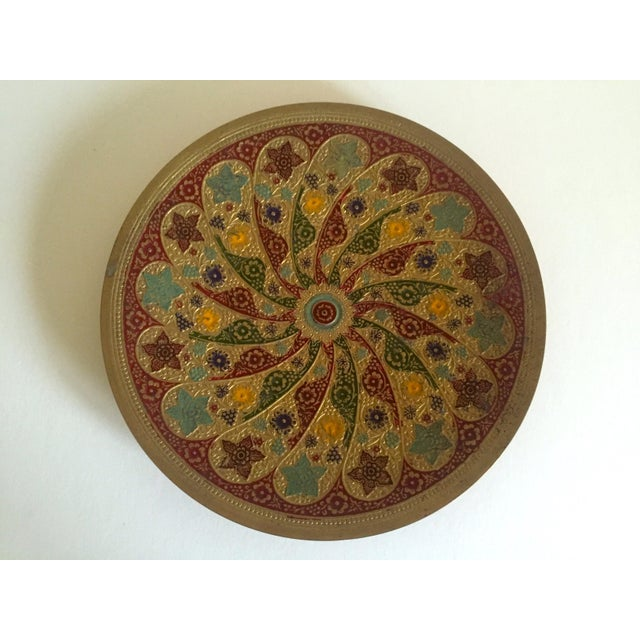 Gold Vintage Moroccan Multicolored Enameled Brass Relief Plate For Sale - Image 8 of 9
