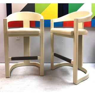 Karl Springer Pair of Leather Clad Onassis Bar Stools Preview