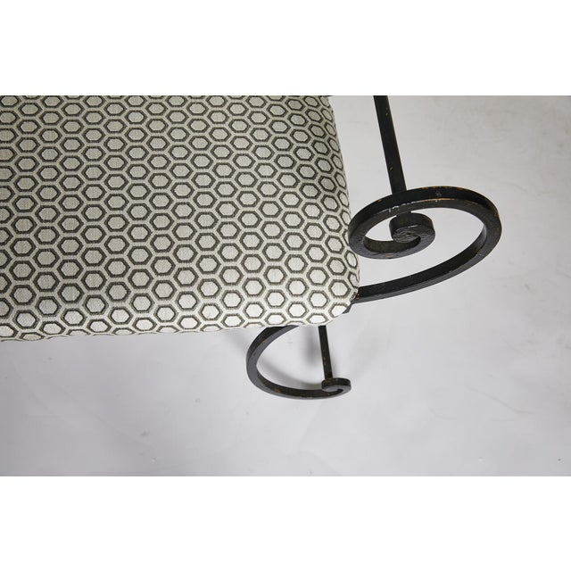 Hollywood Regency Scrolling Iron Bench in Jim Thompson Fabric For Sale - Image 10 of 12
