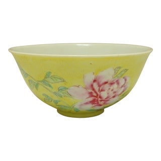 Imperial Sgraffito Background Yellow Famille Rose Bowl For Sale