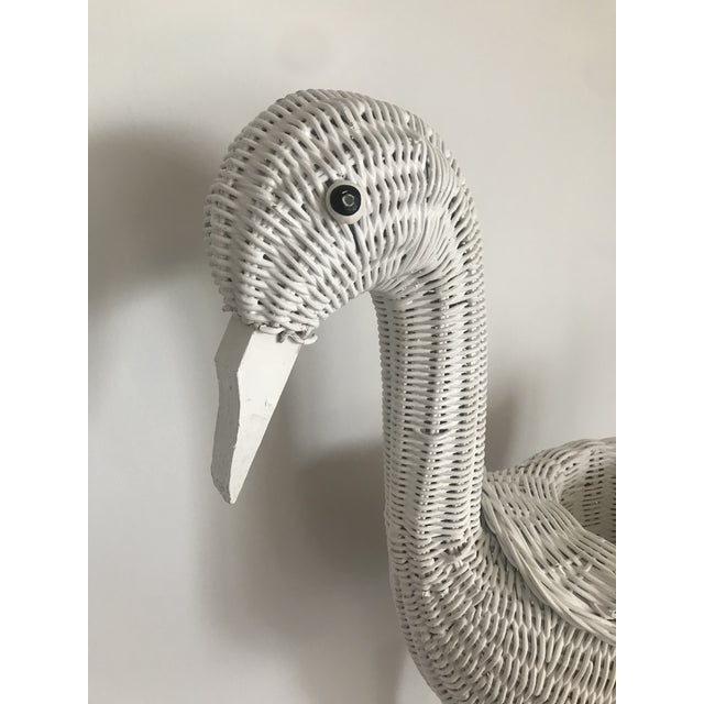 Primitive 1980s Vintage Rattan Flamingo White Planter For Sale - Image 3 of 13