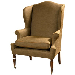 19th Century American Wingback Bergere Chair For Sale