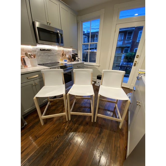 Burano White Leather Sling Counter Stools- Set 3 For Sale - Image 10 of 10