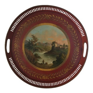 19th Century French Tole Hand Painted Round Tray For Sale