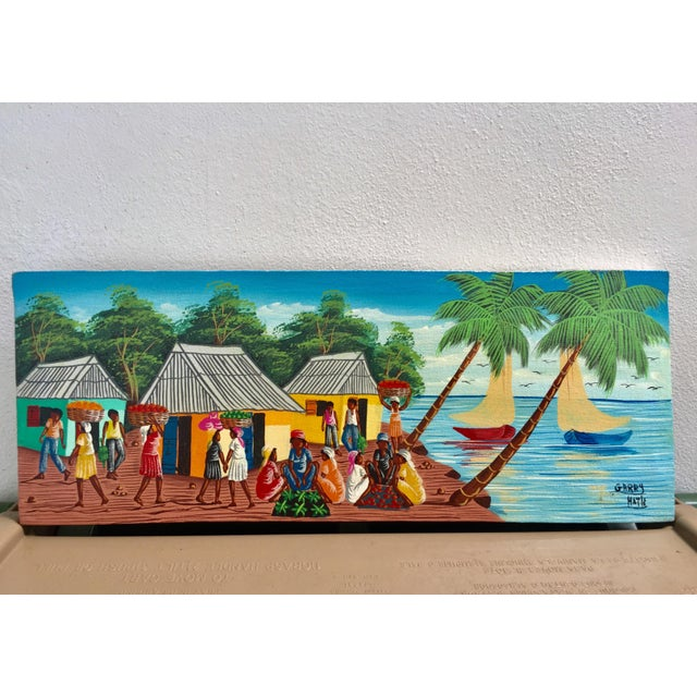 Colorful Signed Haitian Painting - Image 2 of 6