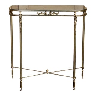 Mid-Century Brass Console With Mirror Top For Sale