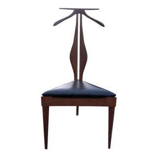 Mid-Century Sculpted Walnut Valet Butler Chair For Sale