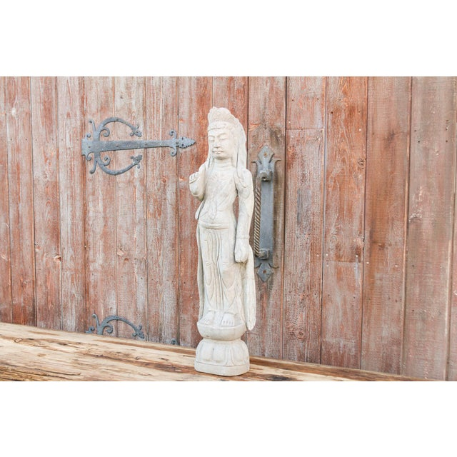 Asian Bodhisattva Stone Quan Yin Statue For Sale - Image 3 of 10