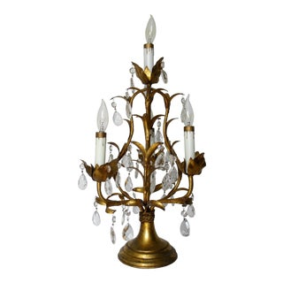 C1960s Vintage Hollywood Regency Gilt Metal Tole Lamp With Cut Glass Tear Drops Accents For Sale