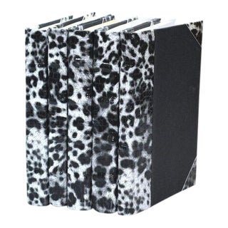 Exotic Collection Leopard White Books - Set of 5 For Sale