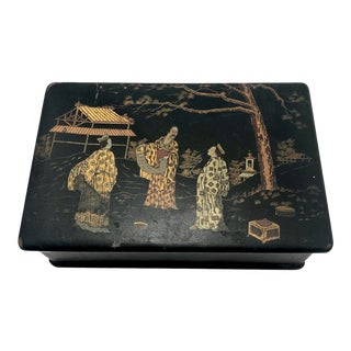 Antique Japanese Lacquered Papier Mache Box With Scholars in Landscape For Sale