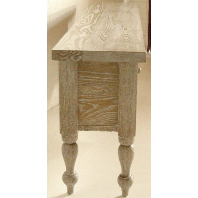 Custom Ceruse Oak Wood Carved Console With Turned Legs and Drawers For Sale In Los Angeles - Image 6 of 7