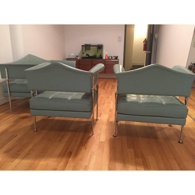 Poltrona Frau Hydra Enif Sofa Set by Luca Scacchetti in Atollo Pelle Frau Leather - Set of 3 For Sale In New York - Image 6 of 6