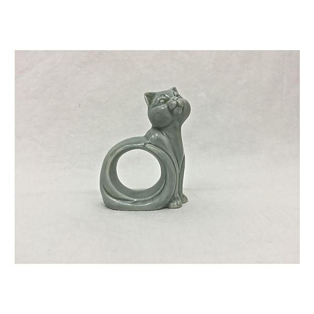 Ironstone Celadon Cats Napkin Rings - Set of 4 - Image 6 of 9