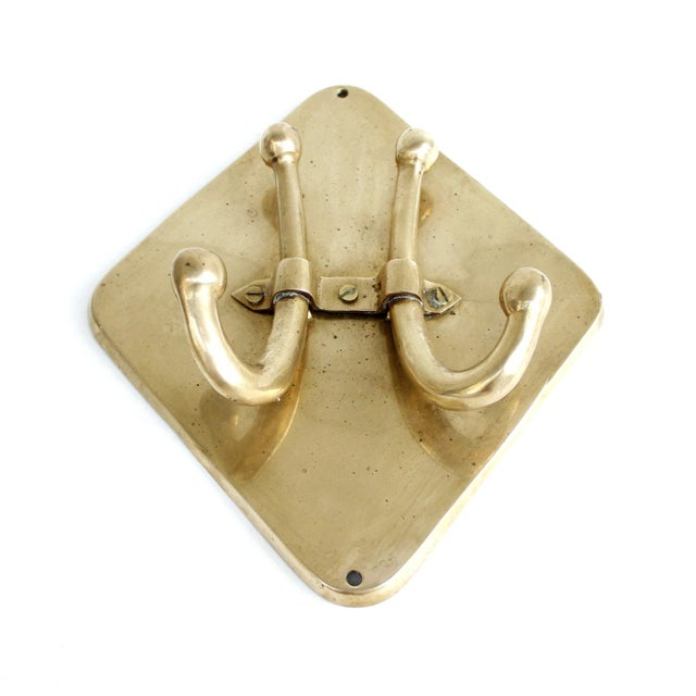 Vintage Mid-Century Brass Double Wall Towel Hook - Image 4 of 6