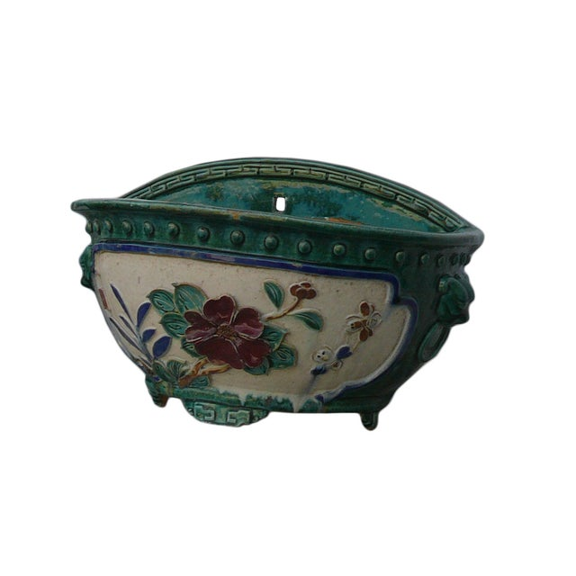 Asian Chinese Ceramic Dimensional Flower Wall Planter For Sale - Image 3 of 6