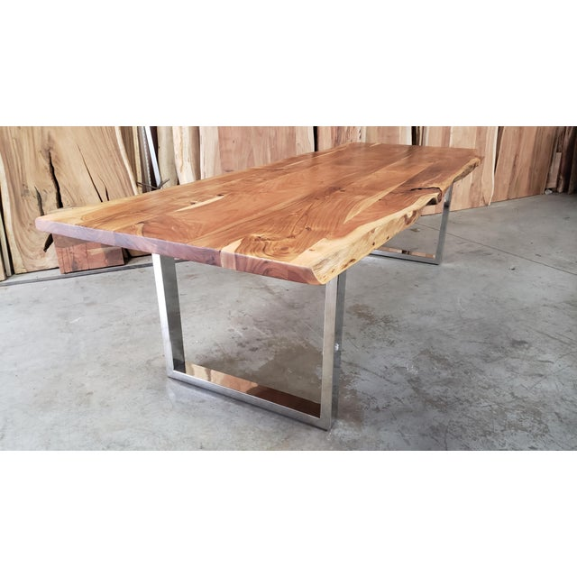 2010s Rustic Live Edge, Acacia Wood Dining Table For Sale - Image 5 of 8