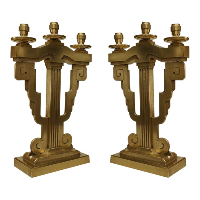 Pair Of American Art Deco Bronze 3 Arm Candelabra For Sale