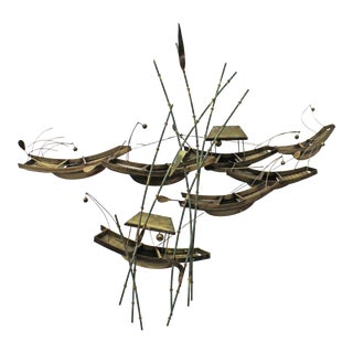 Vintage Modern Abstract Curtis Jere Asian Boats & Bamboo Brass Wall Sculpture For Sale
