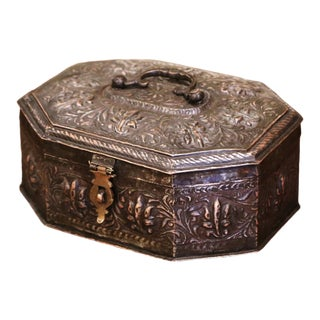 19th Century French Repousse Silvered Metal Spice or Jewelry Box For Sale