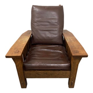 Arts & Crafts Mission Oak & Leather Arm Chair by Stickley C.1920 For Sale