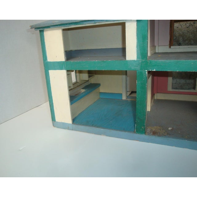 Paint 1920s Handmade American Folk Art House Maquette For Sale - Image 7 of 9