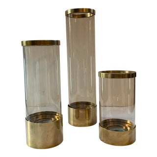 1980's Chapman Brass Hurricane Candle Holders - Set of 3 For Sale