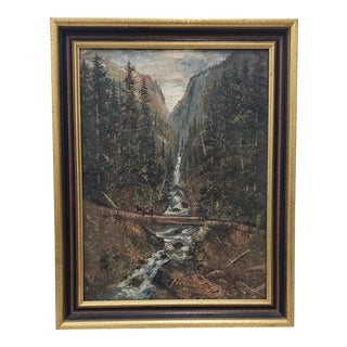 """Late 19th Century """"Boulder Canyon"""" Original Oil Painting by Learned C.1887 For Sale"""