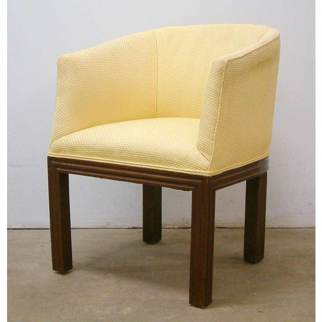 Yellow Circa 1950 Mid-Century Upholstered Yellow Arm Chairs - Pair For Sale - Image 8 of 11