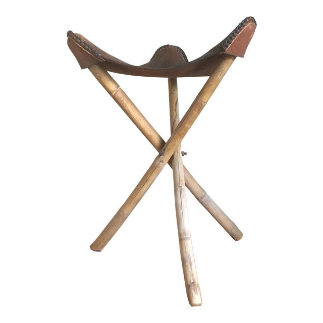Vintage Tooled Leather Camp Stool Chairish