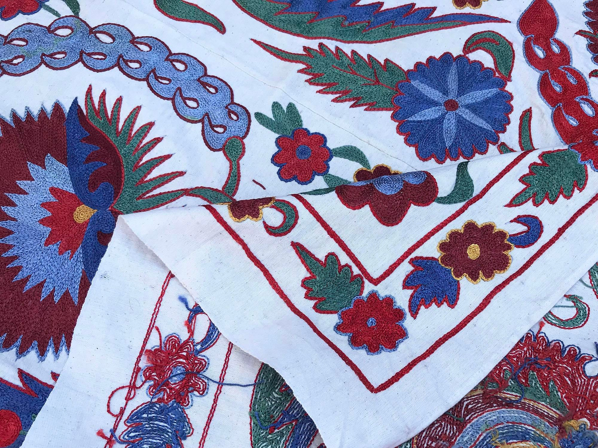 Suzani Wall Hanging Handmade Tablecloth with Full Condition Handmade Crochet Table Cover Bedspread Clove Design Fabric Turkish Bedding