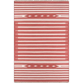 "Erin Gates Thompson Billings Red Hand Woven Wool Area Rug 7'6"" X 9'6"" For Sale"