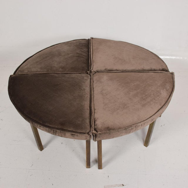 Metal Mid-Century Modern Round Bench Stool Pizza Shape in Bronze and Velvet For Sale - Image 7 of 11