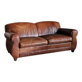 Vintage Restoration Hardware Distressed Leather Sofa For Sale