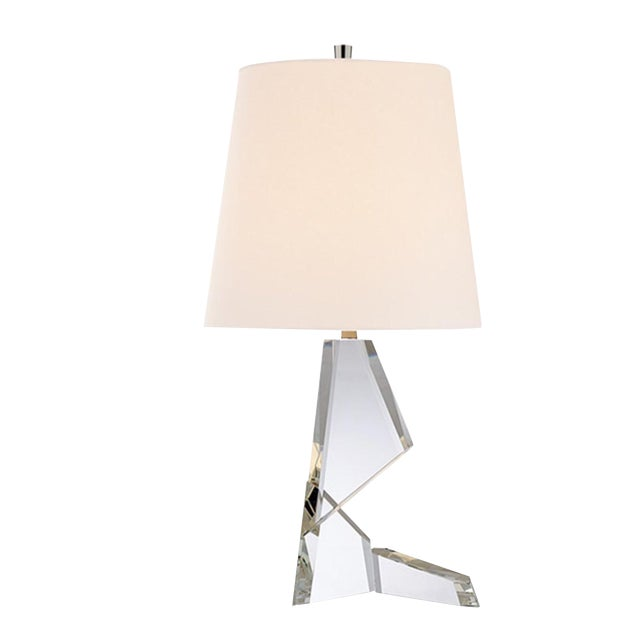 Visual Comfort Thomas O'Brien Abstract Origami Crystal Glass Table Lamp For Sale