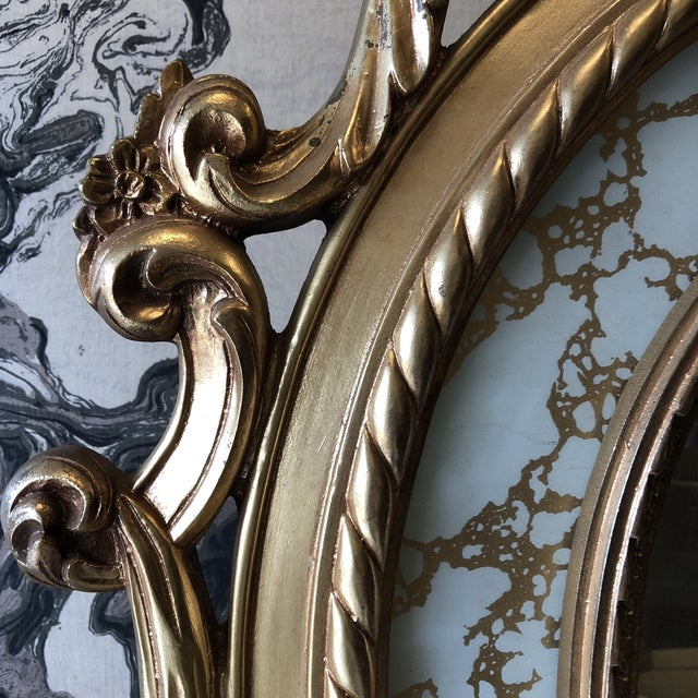 Hollywood Regency Rococo Scrolling Floor Gilded Mirror For Sale - Image 3 of 7