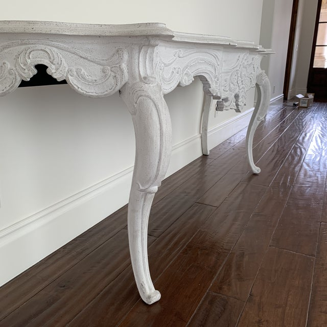 Wood White Wash Console Table For Sale - Image 7 of 9