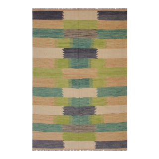 Bauhaus Alecia Beige/Grey Hand-Woven Kilim Wool Rug - 6'6 X 9'9 For Sale