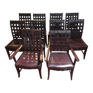 Rustic Leather Dining Chairs - Set of 10