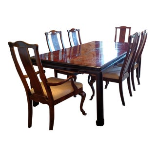 1980s Chinese Drexel Heritage Dining Set - 7 Pieces For Sale