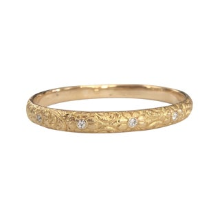 Art Nouveau 14k Gold Repousse Diamond Bangle Bracelet For Sale