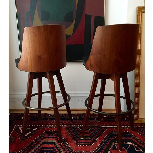 Mid-Century Walnut Bentwood, Leather Swivel Barstools - A Pair - Image 3 of 5