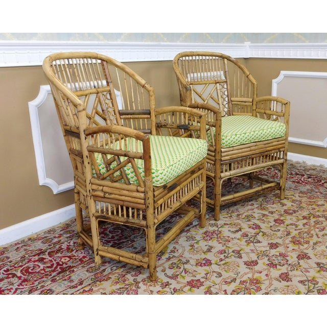 Brighton Style Chippendale Hollywood Regency Bamboo Armchairs- A Pair - Image 4 of 10